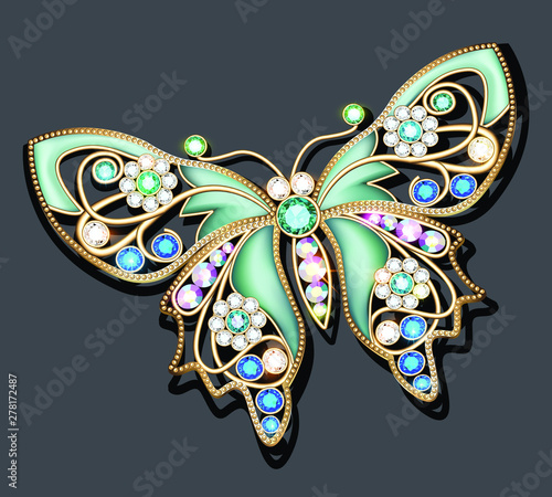 Illustration of a jewelry brooch butterfly with precious stones Fototapeta