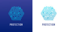 Fingerprint Scan Logo, Privacy, Cyber Security ,identity Information And Network Protection. Vector Icon