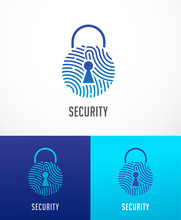 Fingerprint Scan Logo, Privacy, Lock Icon, Cyber Security ,identity Information And Network Protection. Vector Icon