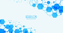 Abstract White Background With Blue Hexagonal Shapes