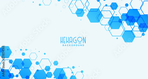 Obraz abstract white background with blue hexagonal shapes - fototapety do salonu