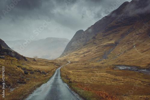 Beautiful scenic road in Glen Etive, Glen Coe Scotland Wallpaper Mural