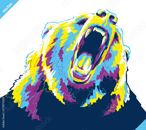 Obraz na plátne Pop art portrait of agressive bear. Vector illustration
