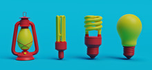 Evolution Of Lighting. 3d Rendering