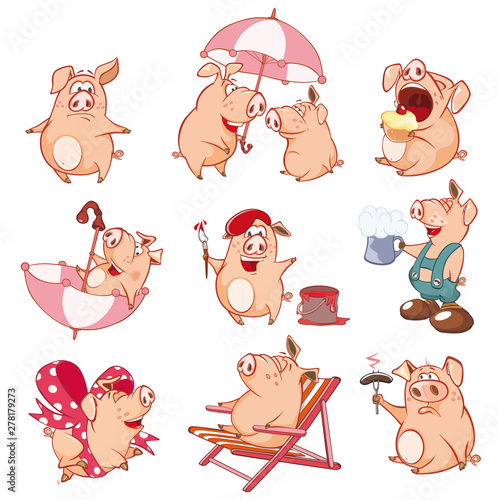 Poster Chambre bébé Set of Vector Cartoon Illustration. Cute Pigs in Different Poses for you Design. Cartoon Character
