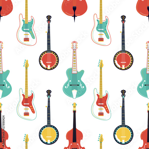 Strumming music instruments vector seamless pattern Tablou Canvas