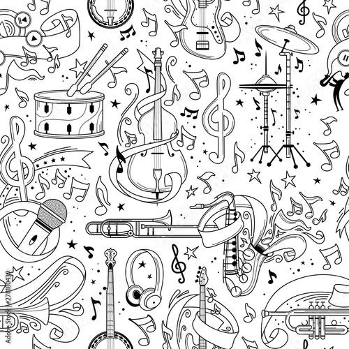 Fototapety muzyka  musical-equipment-hand-drawn-outline-seamless-pattern