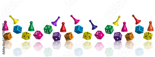 Fotografie, Obraz Different game pawns for leisure and dice in various quantities.