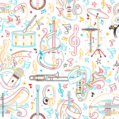 Musical instruments hand drawn outline seamless pattern