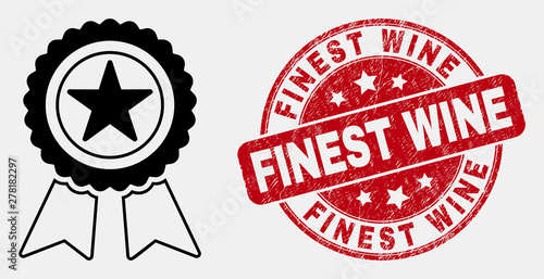 Vector stroke star award icon and Finest Wine watermark