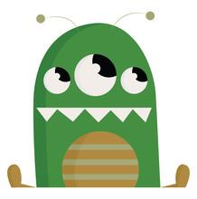 A Green 3 Eyed Monster, Vector Or Color Illustration.
