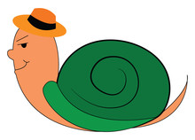 A Brown Snail With A Green Shell, Vector Or Color Illustration.