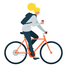 Young Girl Riding Bicycle Flat Vector Illustration