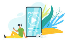 Podcast Flat Vector Illustration