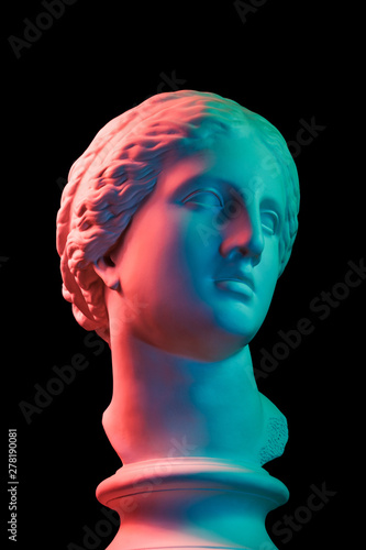 Gypsum copy of ancient statue Venus head isolated on black background Fototapeta