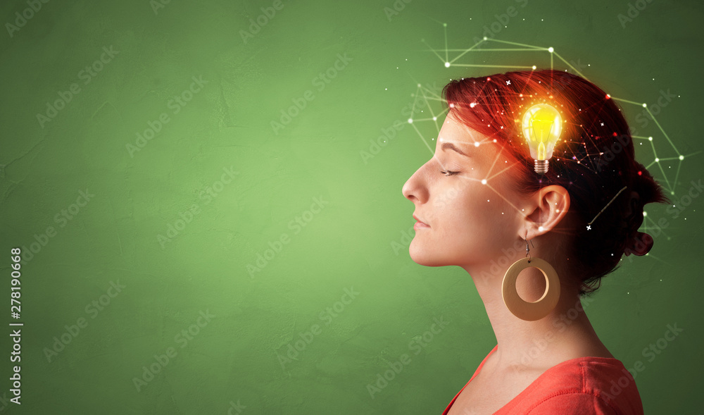 Fototapety, obrazy: Head with new idea, lighting bulb and networking concept