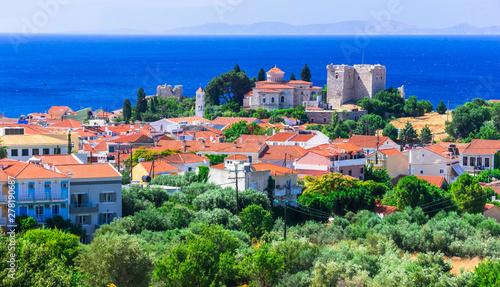 Photo Stands Kiev Landmarks of Samos islan - Pythagorion town, view with Lykourgos Logothetis castle. Greece