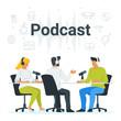 People recording podcast in studio flat vector illustration