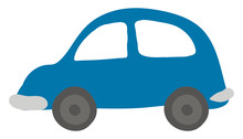 Small Blue Car, Illustration, Vector On White Background.