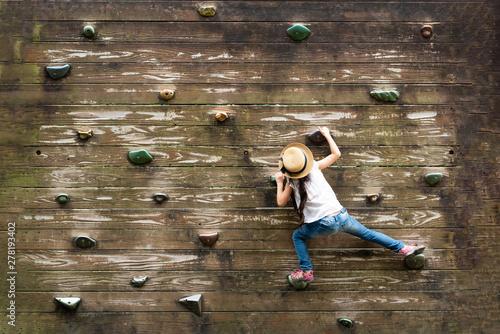 壁を登る女の子 Wallpaper Mural