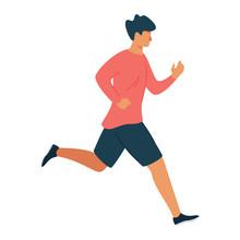 Running Man Flat Vector Illustration
