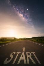 Milky Way Galaxy, Road At Nigh...