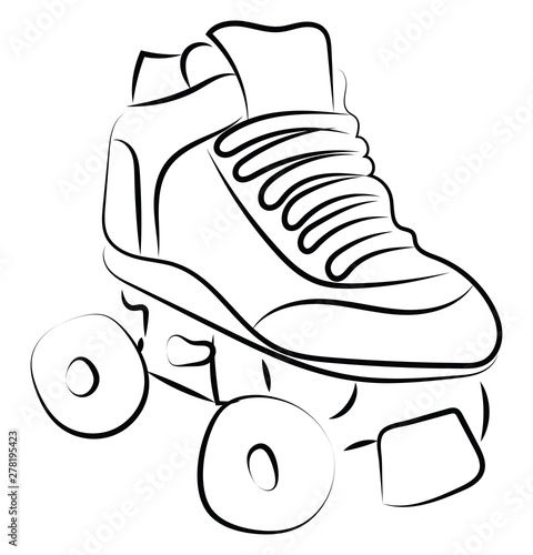 Carta da parati Roller skate sketch, illustration, vector on white background.