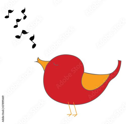 Photo Red singing bird, illustration, vector on white background.