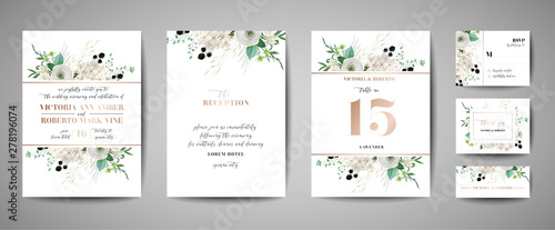 Fototapeta Set of Wedding Invitation, floral invite, thank you, rsvp rustic card design with gold foil decoration. Vector elegant modern template, trendy cover, graphic poster, retro brochure, design template obraz