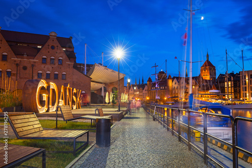 Deurstickers Europa Beautiful architecture of Gdansk with an outdoor sign at dusk, Poland