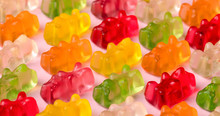 Gummy Bears Pattern Over Pink Background, Close-up Image