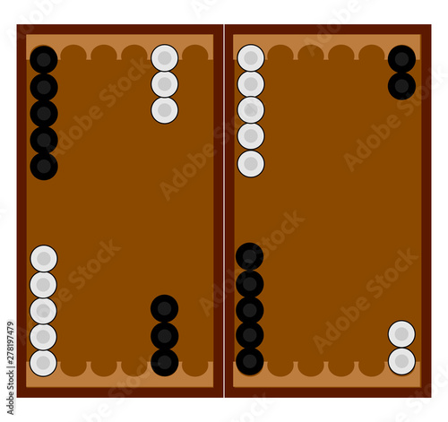 Backgammon game, illustration, vector on white background. Fototapeta