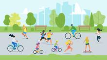 Sport Activity In Park Flat Vector Illustration