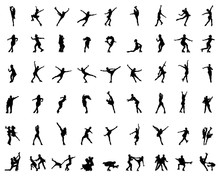 Silhouettes Of Figure Skaters,...