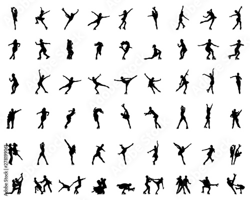 Obraz Silhouettes of figure skaters, vector illustration - fototapety do salonu