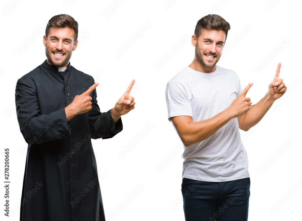 Fototapety, obrazy: Collage of handsome young man and catholic priest over isolated background smiling and looking at the camera pointing with two hands and fingers to the side.