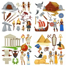 Ancient Civilizations Primitive People And Vikings Antique Greece And Egypt
