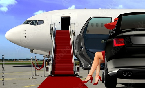 Limousine arrival at the airport with red carpet; Poster Mural XXL