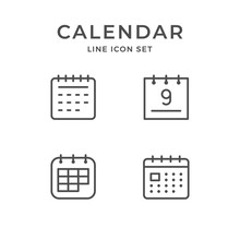 Set Line Icons Of Calendar