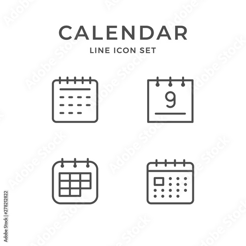 Fotomural Set line icons of calendar