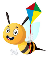 Bee Holding A Kite, Illustrati...