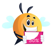 Bee Promoting A Sale, Illustration, Vector On White Background.