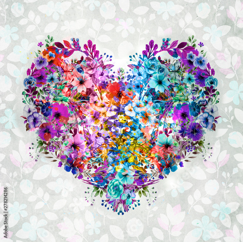 heart made of flowers with love