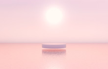 Natural Beauty Podium Backdrop With Cylinder Box For Cosmetic Product Display. Abstract 3d Scene Composition Background. Seascape Background.