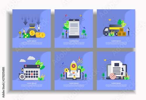 Photo  Set of modern flat design templates for Business, cost reduction, mobile marketing, delivery, schedule, startup business, file management