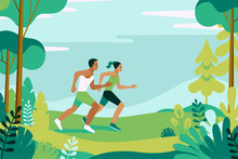 Vector Illustration  In Simple Flat Style And Characters - Man And Woman Running In The Park