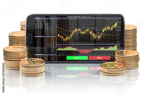Smartphone with stock exchange, forex application orv mobile