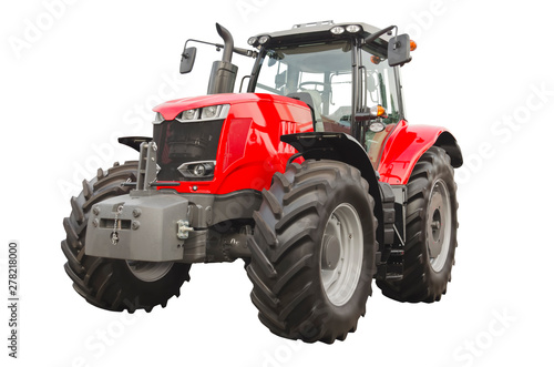 Big red agricultural tractor isolated on a white background Canvas Print