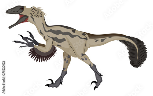 Photo Deinonychus, illustration, vector on white background.