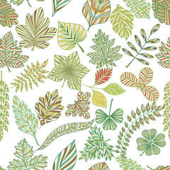FototapetaSeamless pattern with abstract leaves. Vector illustration.